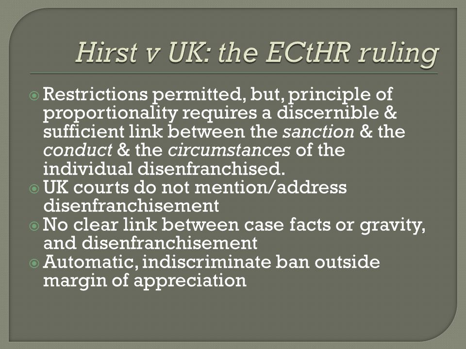 Hirst v UK: the ECtHR ruling