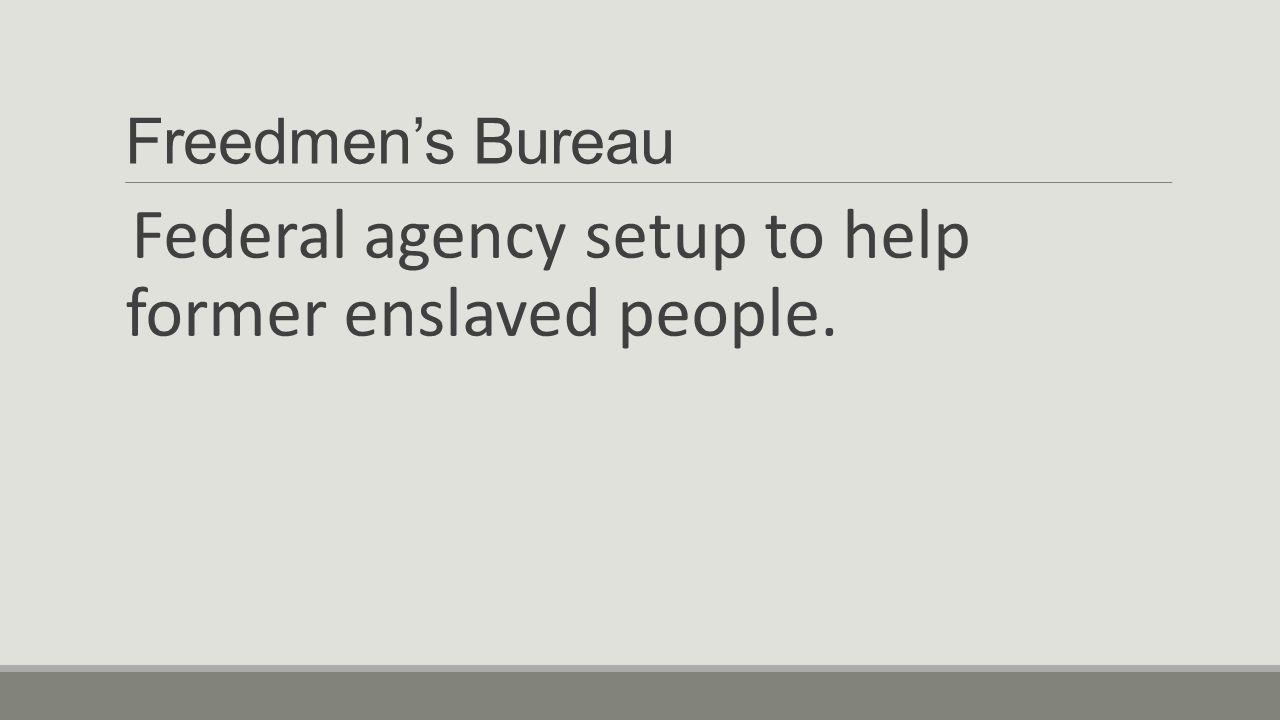 Federal agency setup to help former enslaved people.