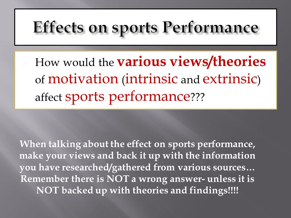 Effects on sports Performance