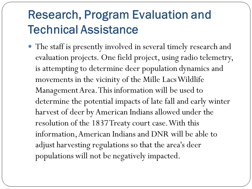 Research, Program Evaluation and Technical Assistance