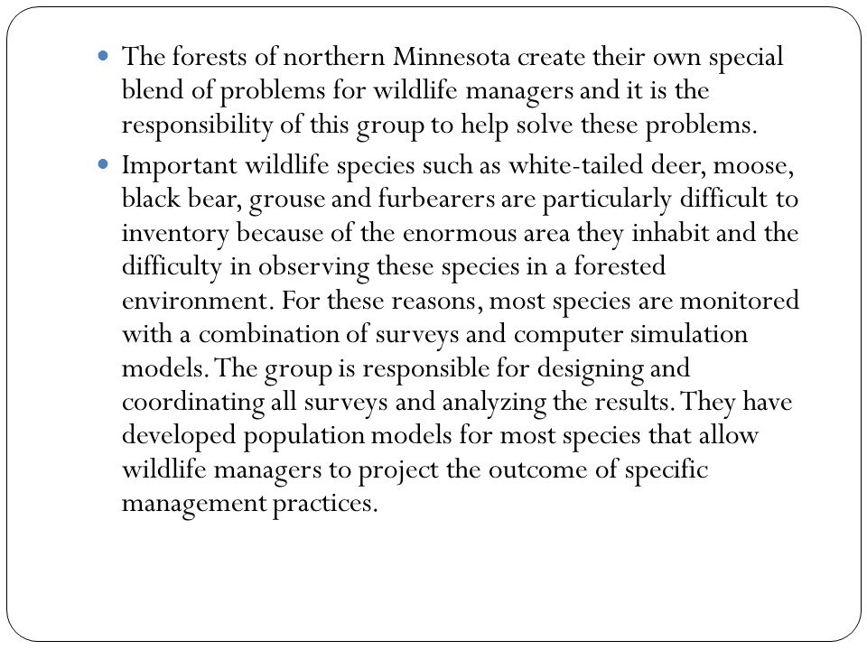 The forests of northern Minnesota create their own special blend of problems for wildlife managers and it is the responsibility of this group to help solve these problems.