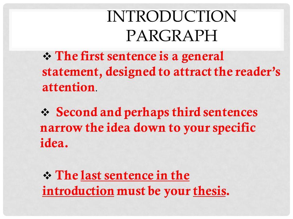 INTRODUCTION PARGRAPH