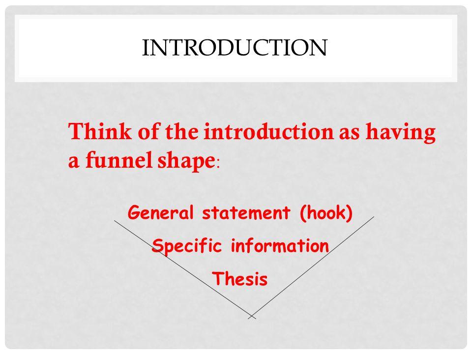 General statement (hook)
