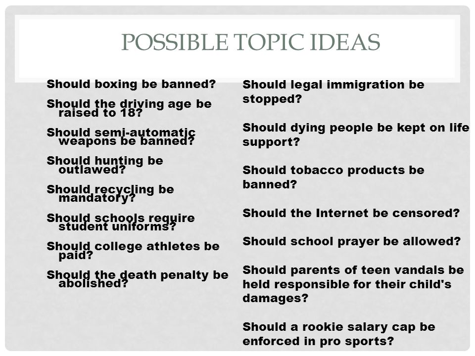 Possible persuasive essay topics