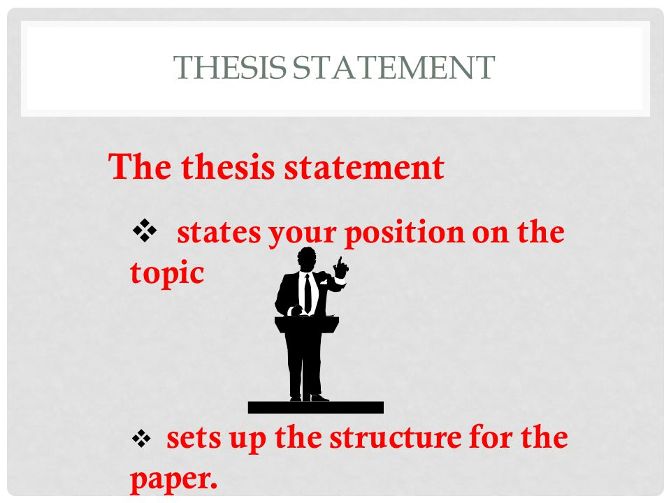 The thesis statement states your position on the topic
