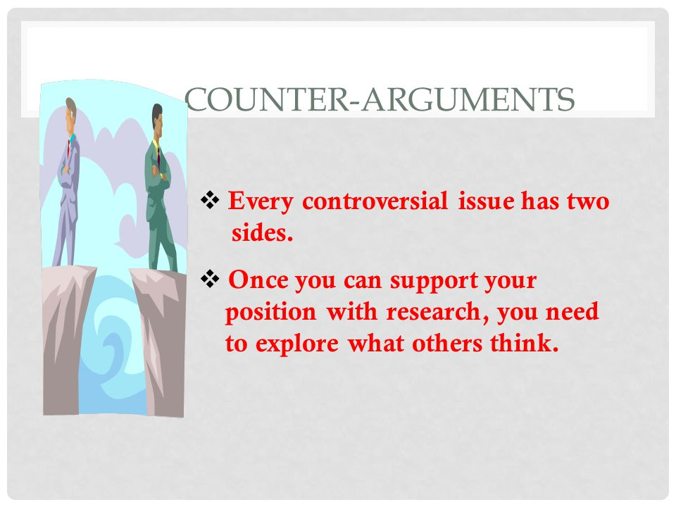 COUNTER-ARGUMENTS Every controversial issue has two sides.