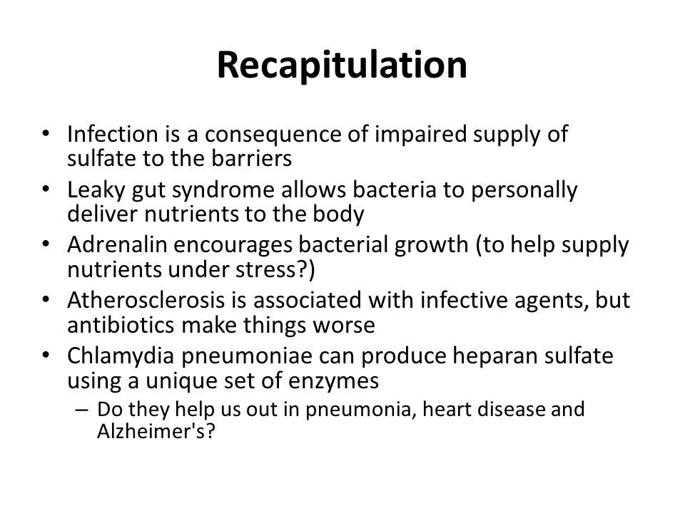 Recapitulation Infection is a consequence of impaired supply of sulfate to the barriers.