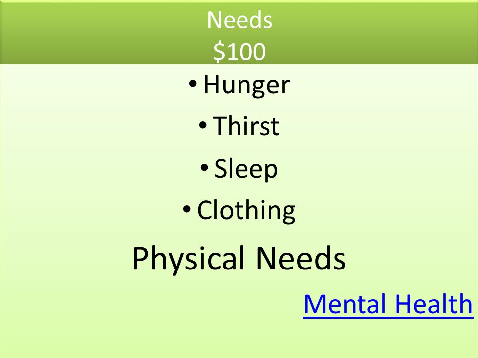 Needs $100 Hunger Thirst Sleep Clothing Physical Needs Mental Health