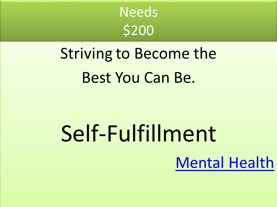 Self-Fulfillment Striving to Become the Best You Can Be. Mental Health
