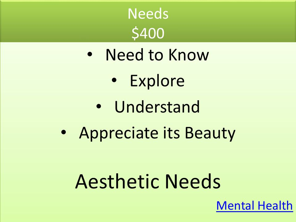 Aesthetic Needs Need to Know Explore Understand Appreciate its Beauty