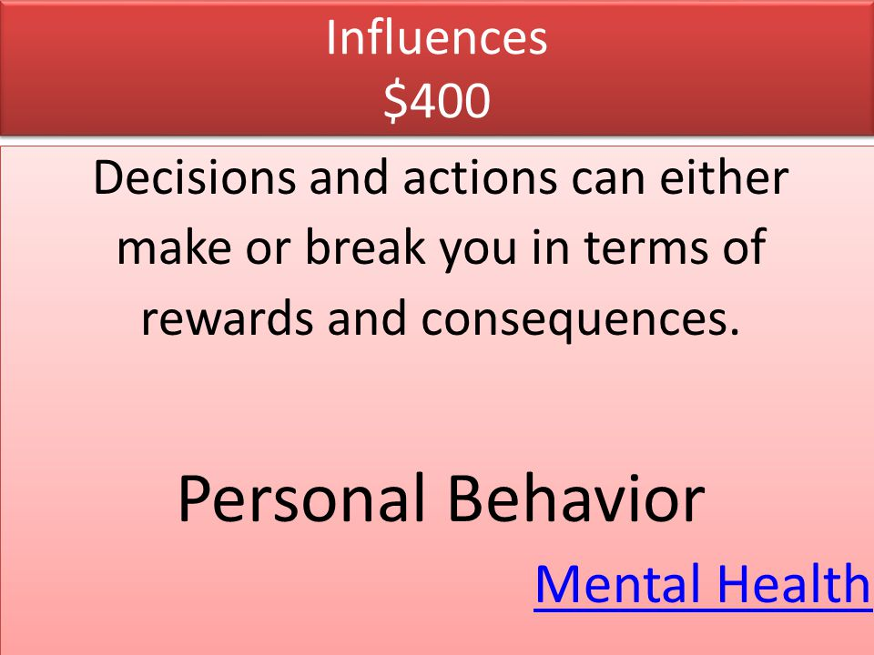 Personal Behavior Mental Health Influences $400