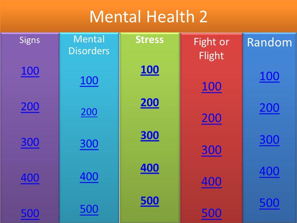 Mental Health 2 Signs. 100. 200. 300. 400. 500. Mental Disorders. 100. 200. 300. 400. 500.