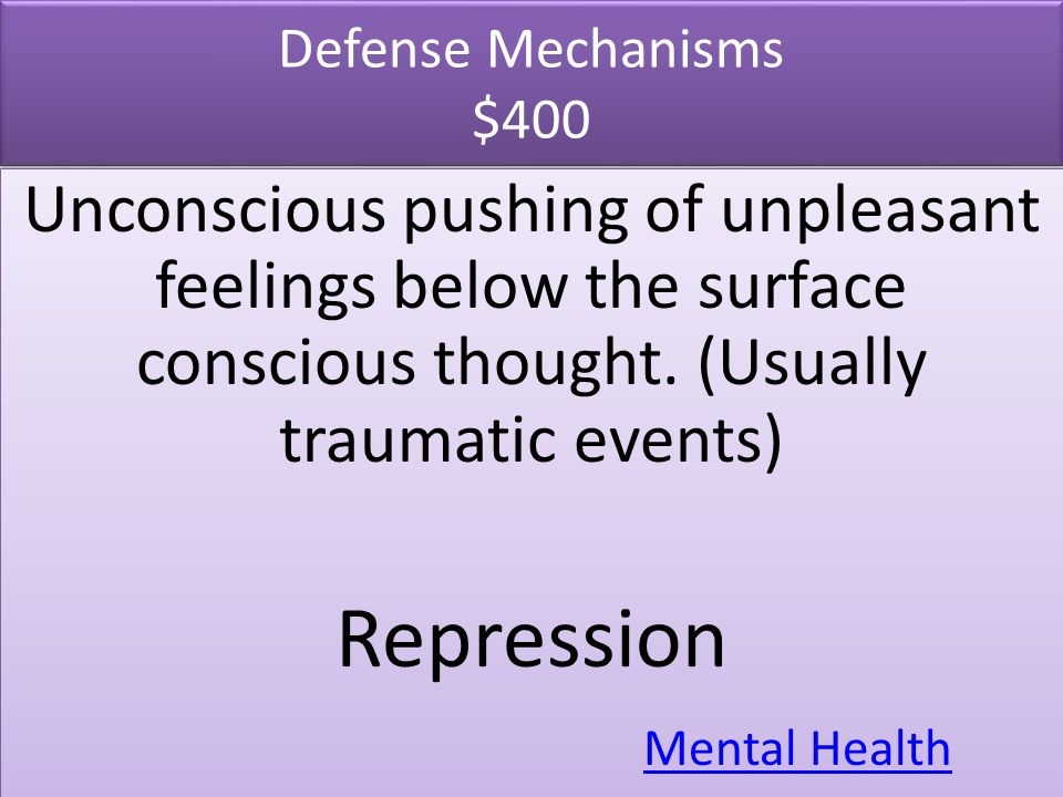 Defense Mechanisms $400 Unconscious pushing of unpleasant feelings below the surface conscious thought. (Usually traumatic events)