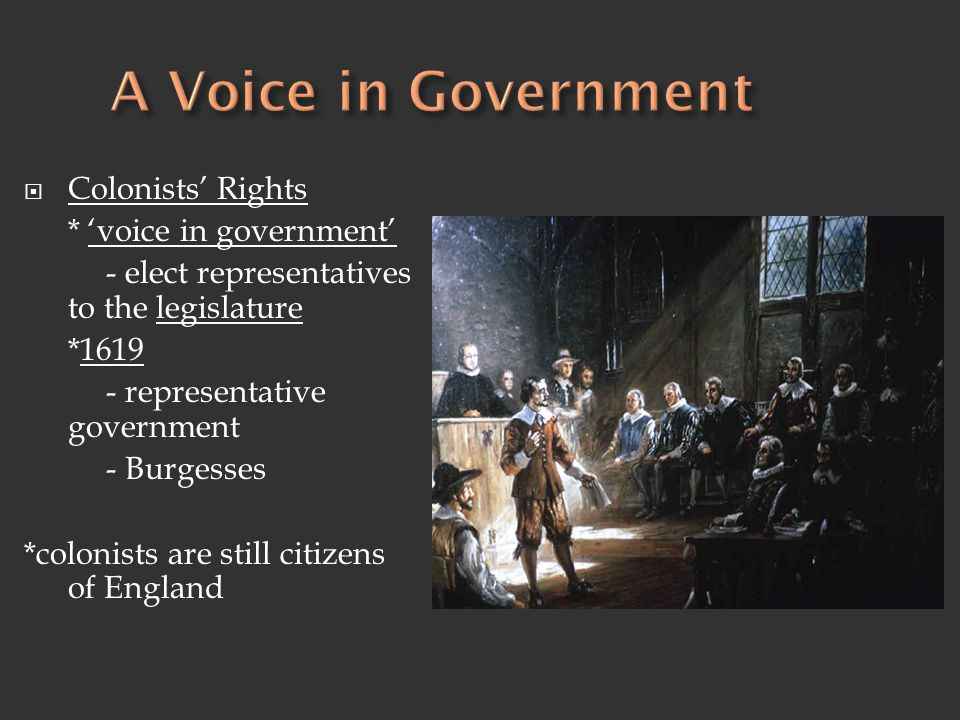 A Voice in Government Colonists' Rights * 'voice in government'