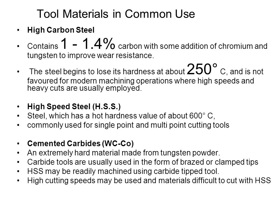 Tool Materials in Common Use