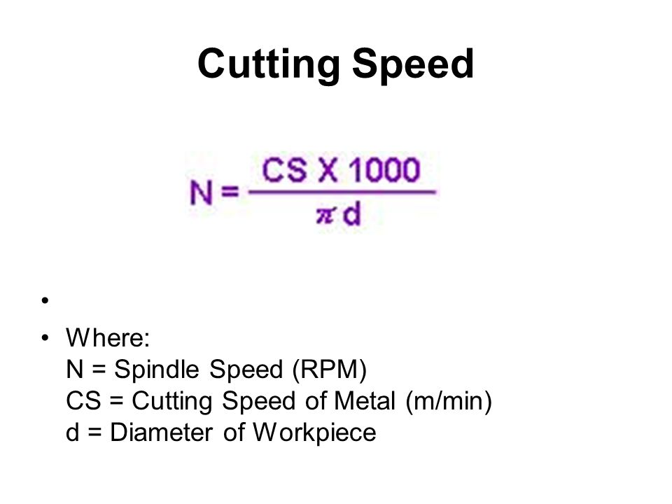 Cutting Speed Where: N = Spindle Speed (RPM) CS = Cutting Speed of Metal (m/min) d = Diameter of Workpiece.