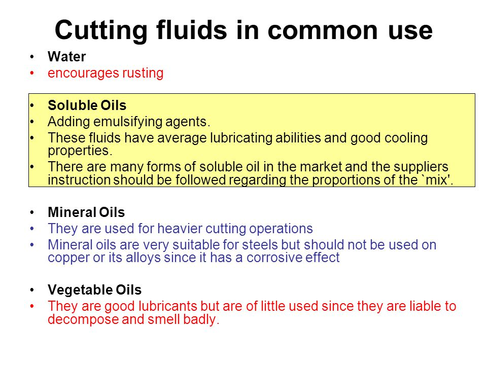 Cutting fluids in common use