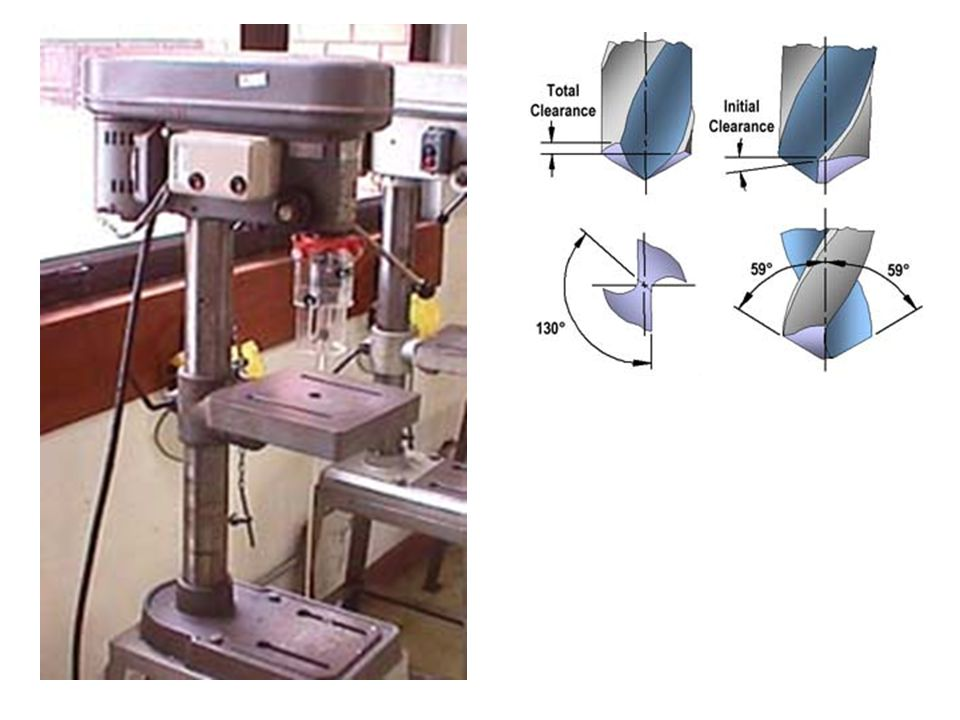 Drilling is the process of cutting holes in metals by using a drilling machine as shown in figure 27. Drills are the tools used to cut away fine shavings of material as the drill advances in a rotational motion through the material.