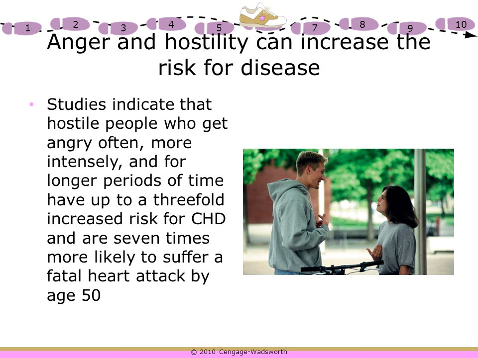 Anger and hostility can increase the risk for disease
