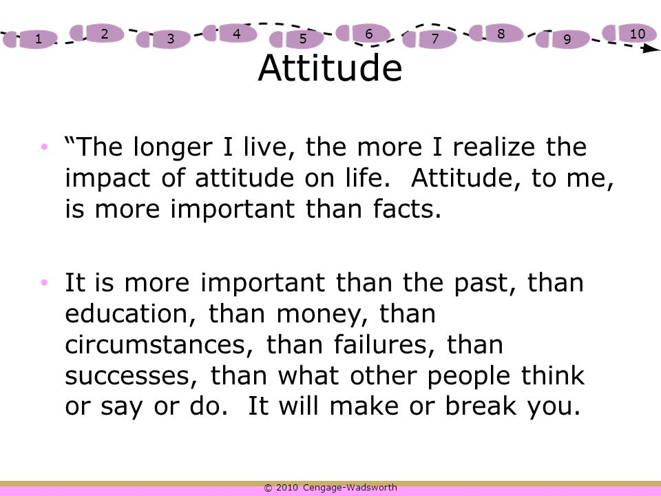 Attitude The longer I live, the more I realize the impact of attitude on life. Attitude, to me, is more important than facts.