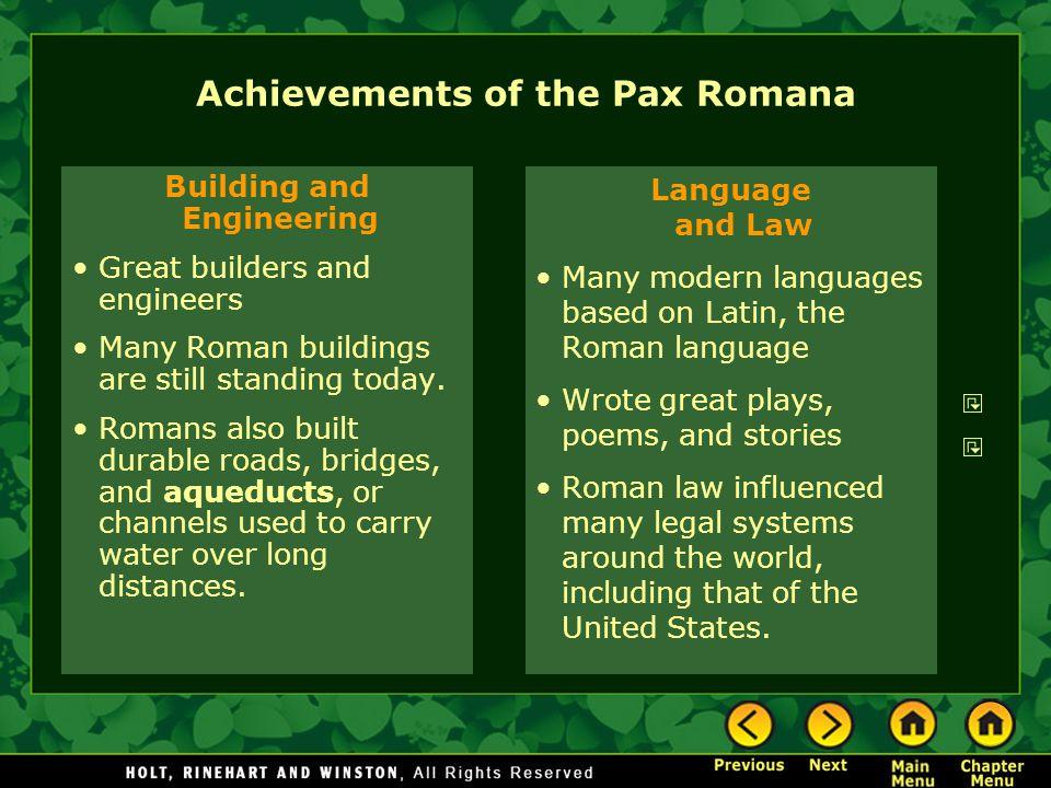 Achievements of the Pax Romana