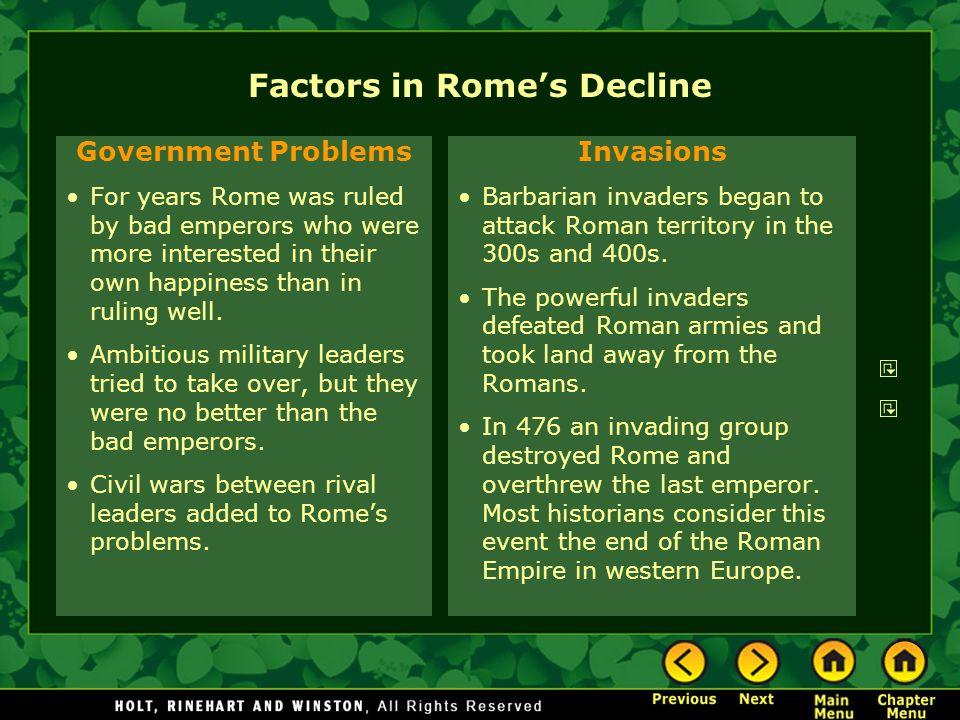 Factors in Rome's Decline