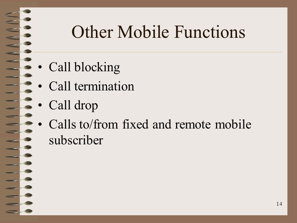 Other Mobile Functions