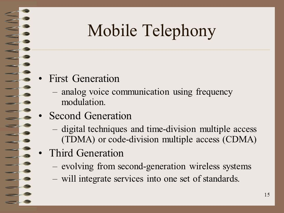 Mobile Telephony First Generation Second Generation Third Generation