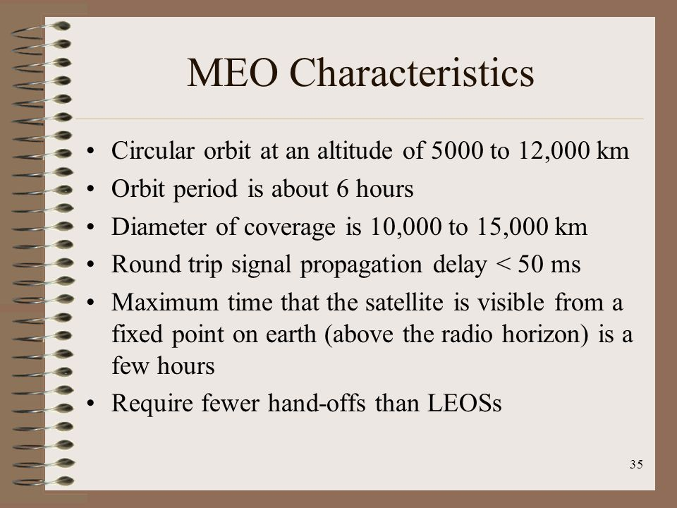 MEO Characteristics Circular orbit at an altitude of 5000 to 12,000 km