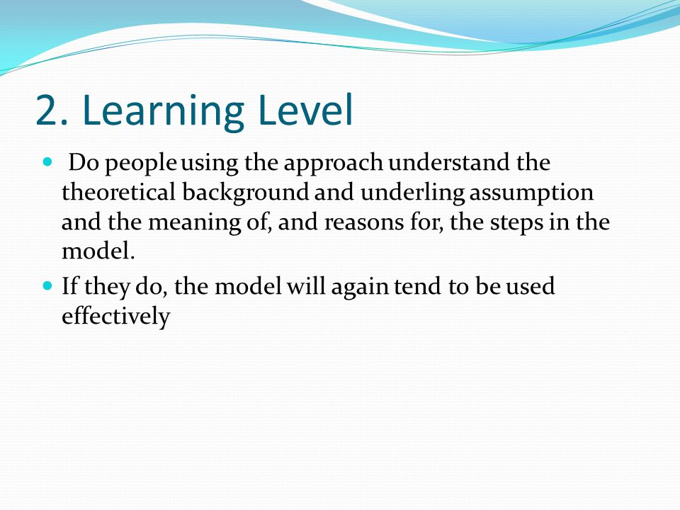 2. Learning Level