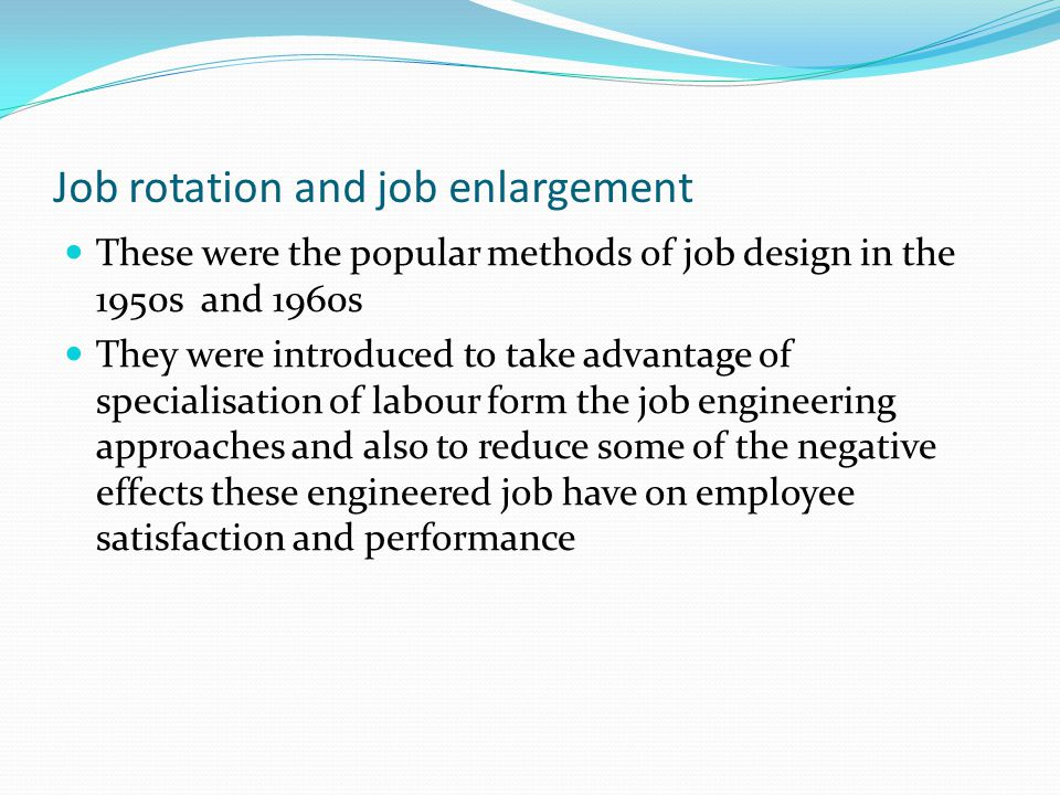 job enlargement job rotation cross training Job enlargement job rotation cross-training job enlargement/job rotation aids in understanding the importance of eliminating boredom in jobs and.