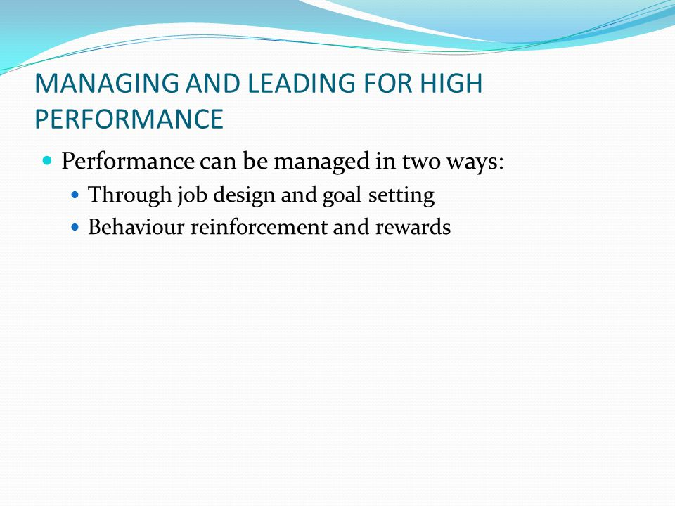 MANAGING AND LEADING FOR HIGH PERFORMANCE