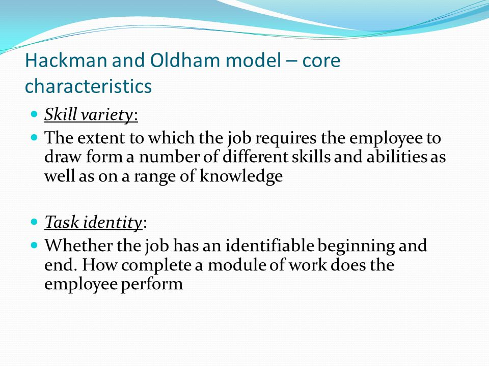 Hackman and Oldham model – core characteristics