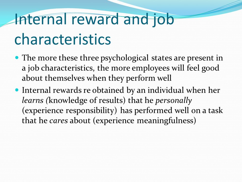 Internal reward and job characteristics