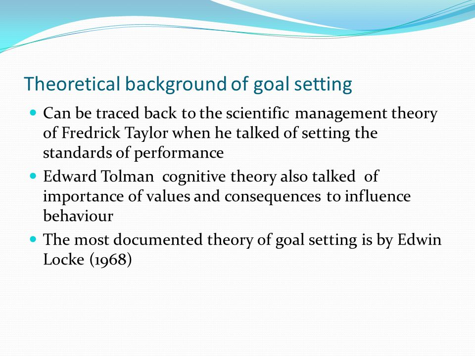 Theoretical background of goal setting