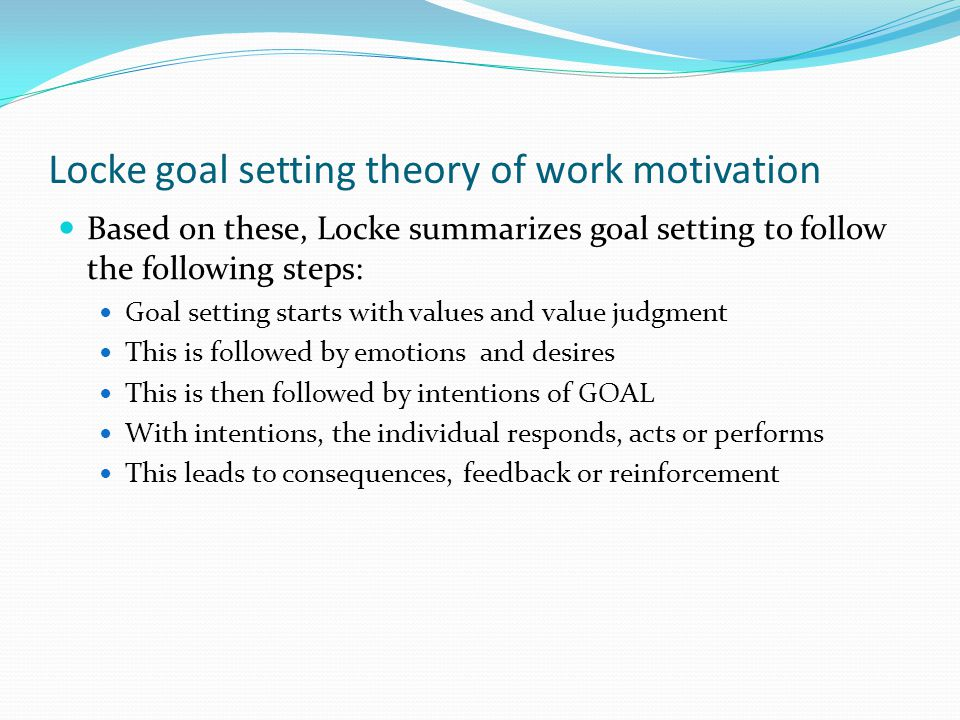 Locke goal setting theory of work motivation