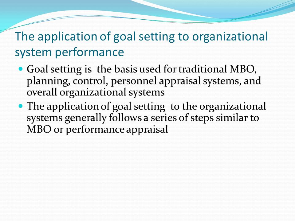 The application of goal setting to organizational system performance