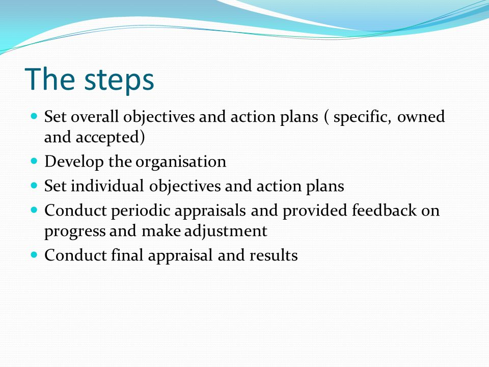 The steps Set overall objectives and action plans ( specific, owned and accepted) Develop the organisation.