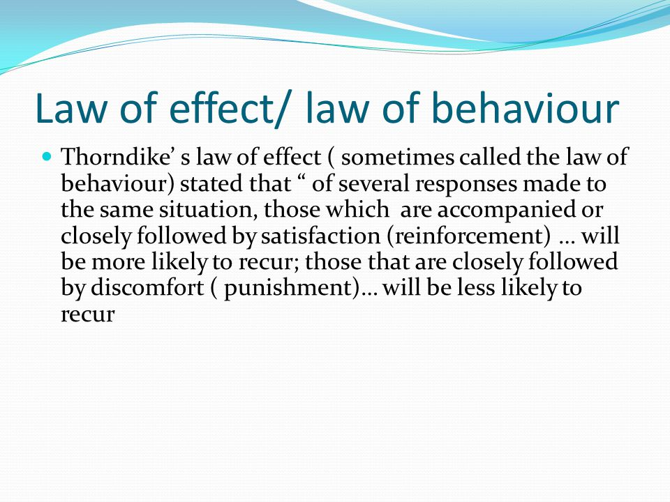 Law of effect/ law of behaviour
