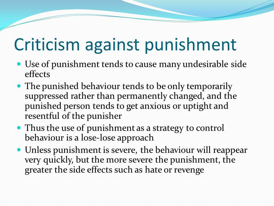 Criticism against punishment