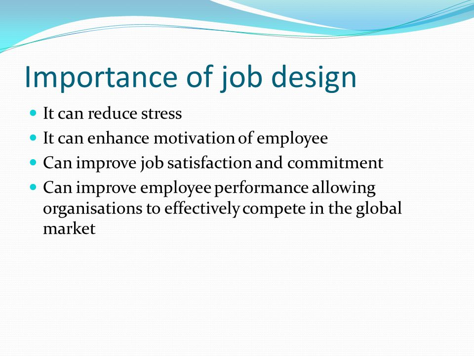 Importance of job design