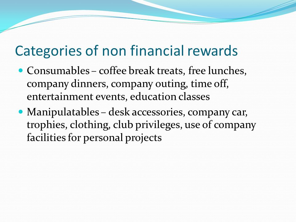 Categories of non financial rewards