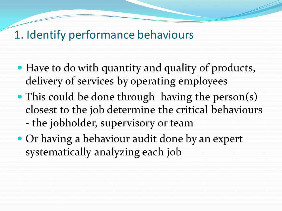 1. Identify performance behaviours