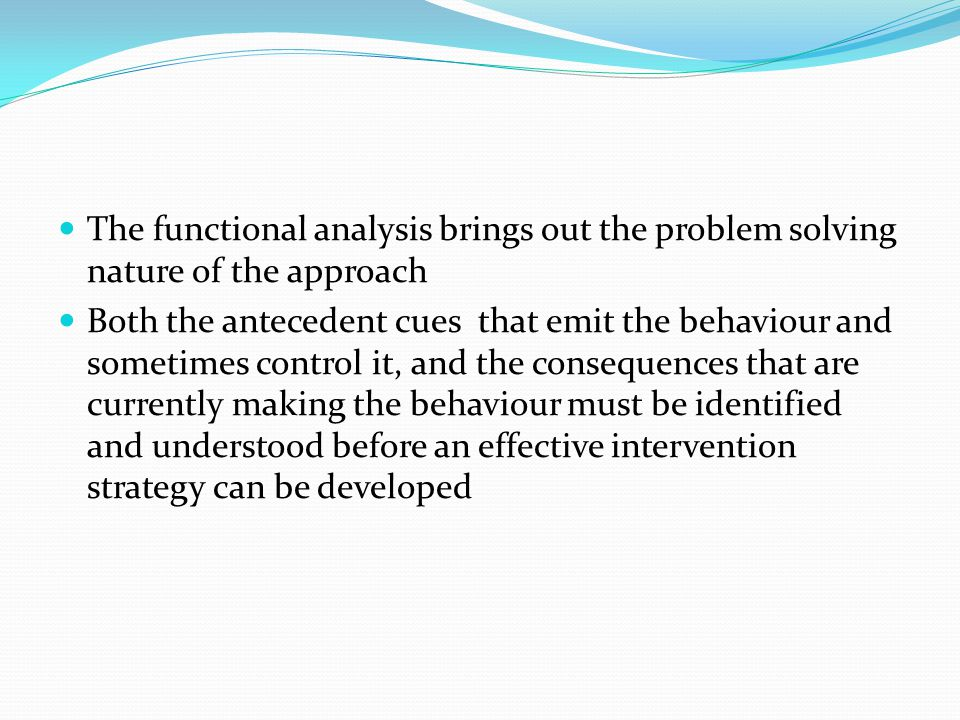 The functional analysis brings out the problem solving nature of the approach