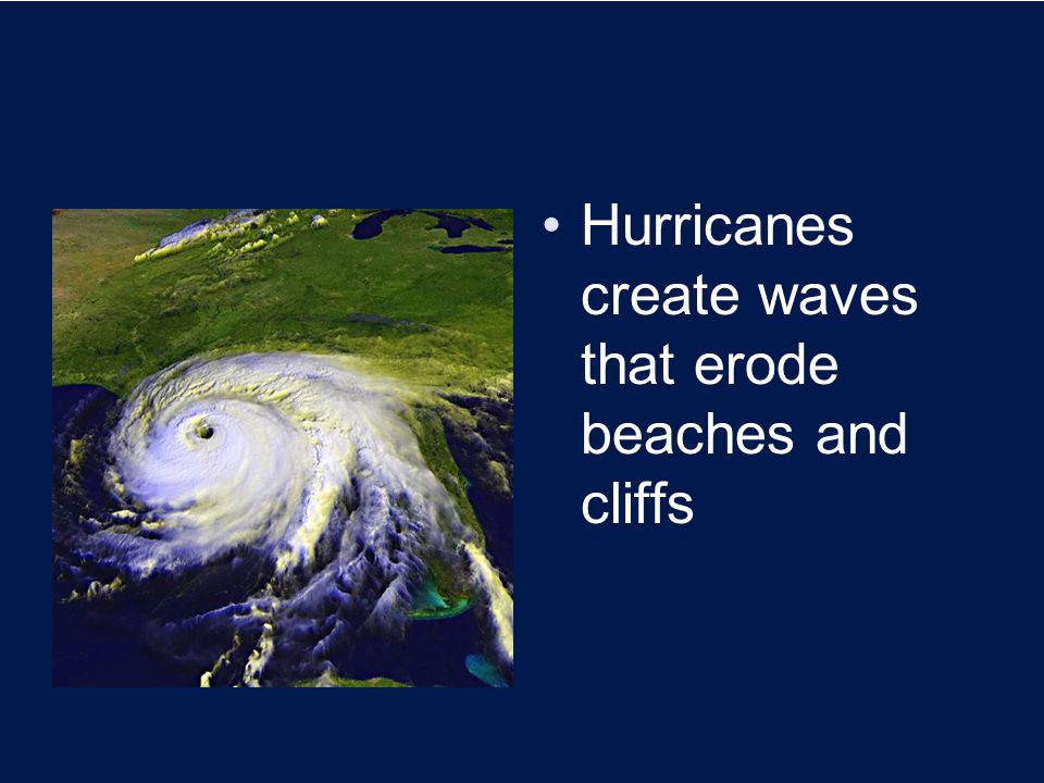 Hurricanes create waves that erode beaches and cliffs