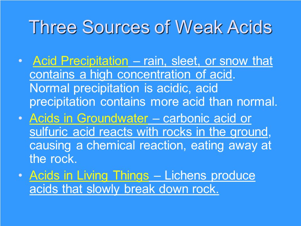 Three Sources of Weak Acids
