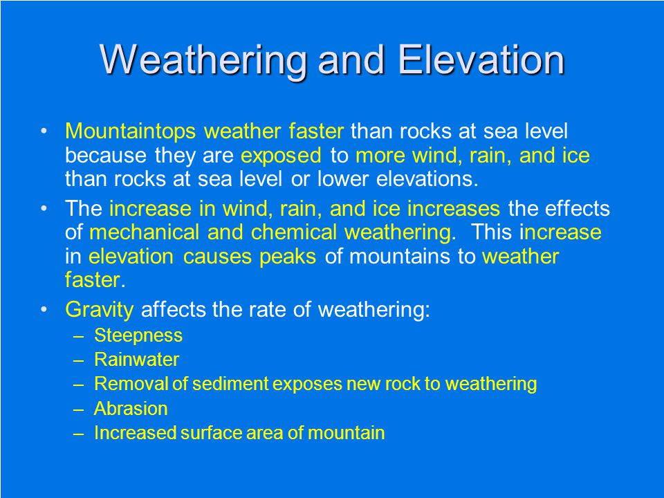 Weathering and Elevation