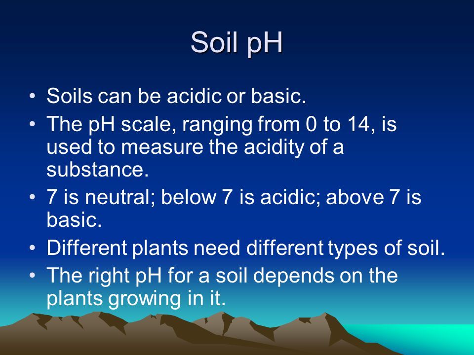 Soil pH Soils can be acidic or basic.