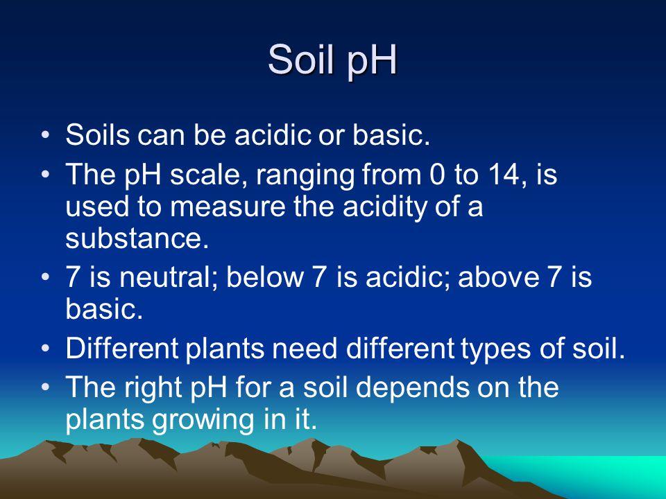 Soil pH Soils can be acidic or basic.