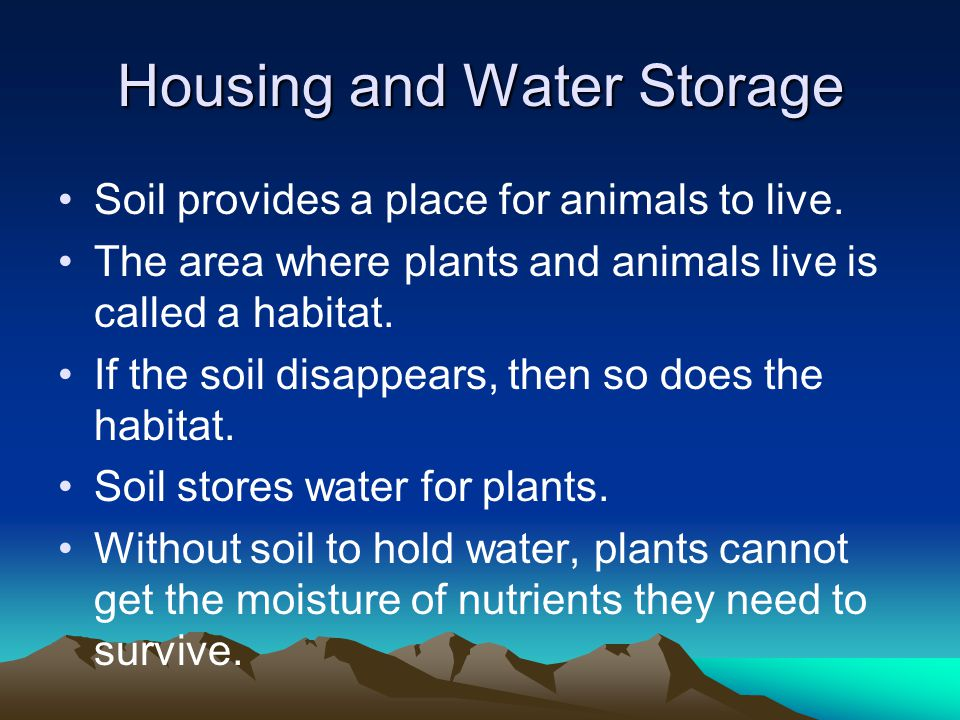 Housing and Water Storage